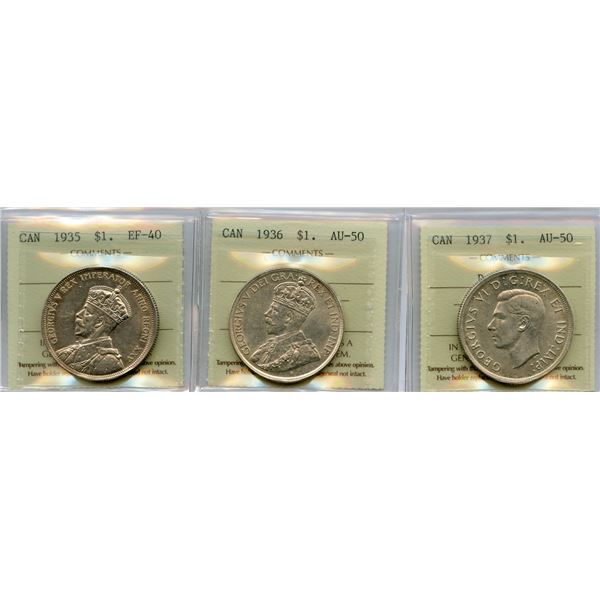 1935, 1936, 1937 Silver Dollars - ICCS Graded