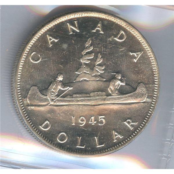 1945 Silver Dollar -5 over 5