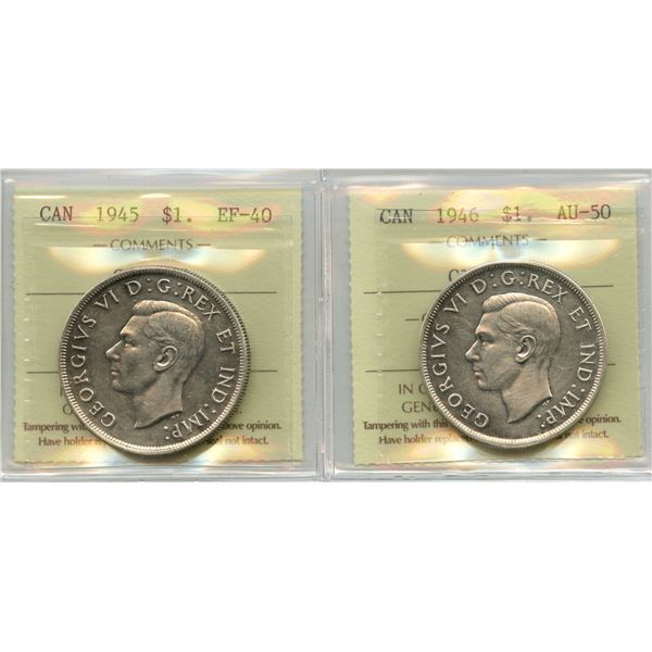 1945 & 1946 Silver Dollars - ICCS Graded