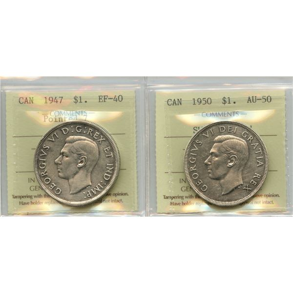 1947 & 1950 Silver Dollars - ICCS Graded