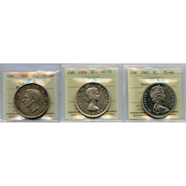 1947, 1954, 1965 Silver Dollars - ICCS Graded