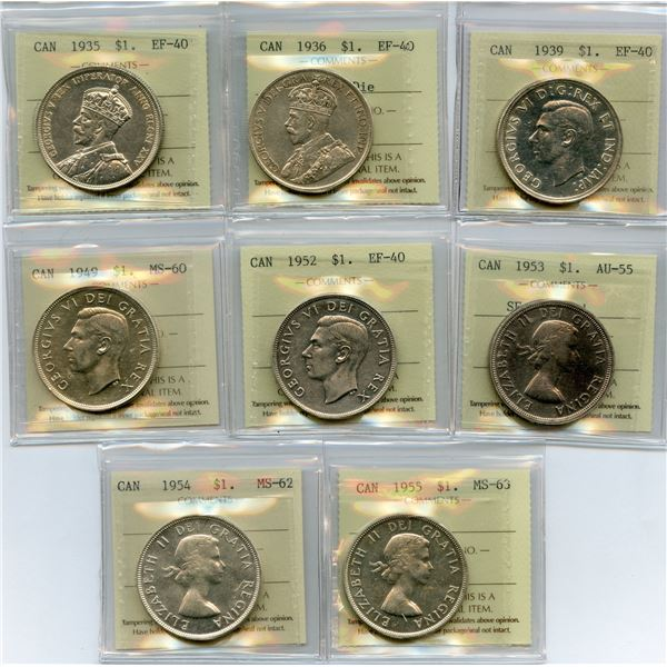 Siler Dollars - Lot of 8 ICCS Graded Coins