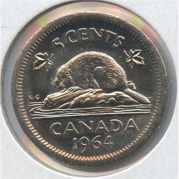 1964 Canada Five Cents Error, BU