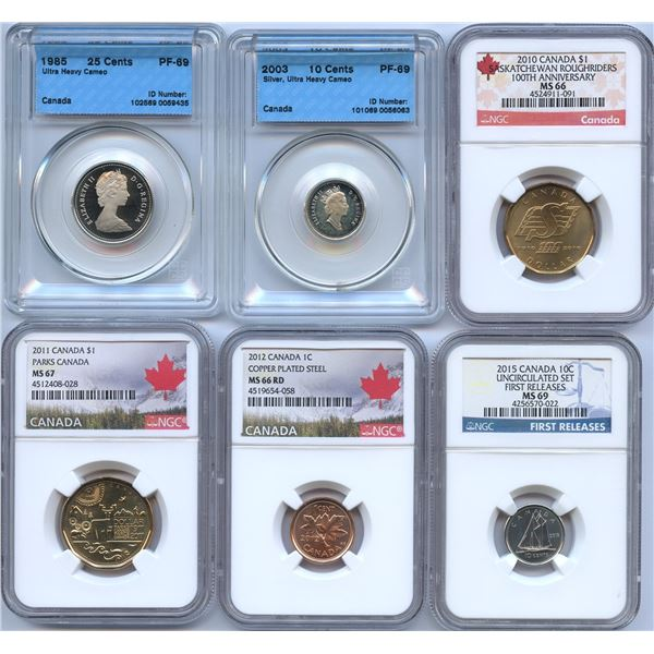 Canadian Decimal -  Lot of 6 Graded Coins