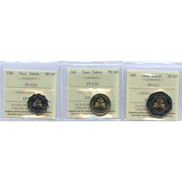 Test Tokens - ICCS Graded Lot of 3