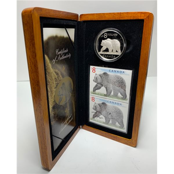 2004 The Great Grizzly $8 Coin & Stamp Set