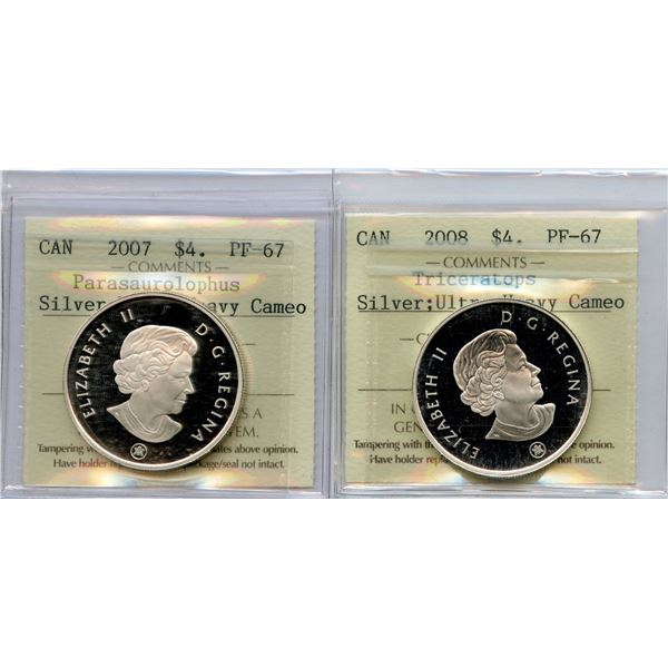 2007 & 2008 Dinosaur $4 - Lot of 2 Silver ICCS Graded Coins