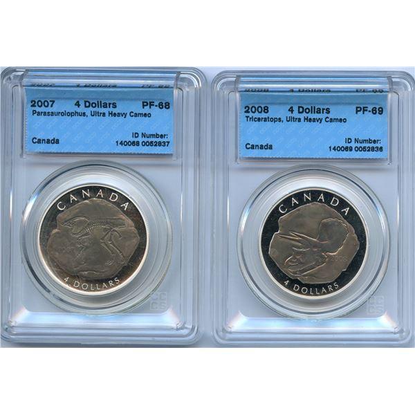 2007 & 2008 Dinosaur $4 - Lot of 2 CCCS Graded Coins