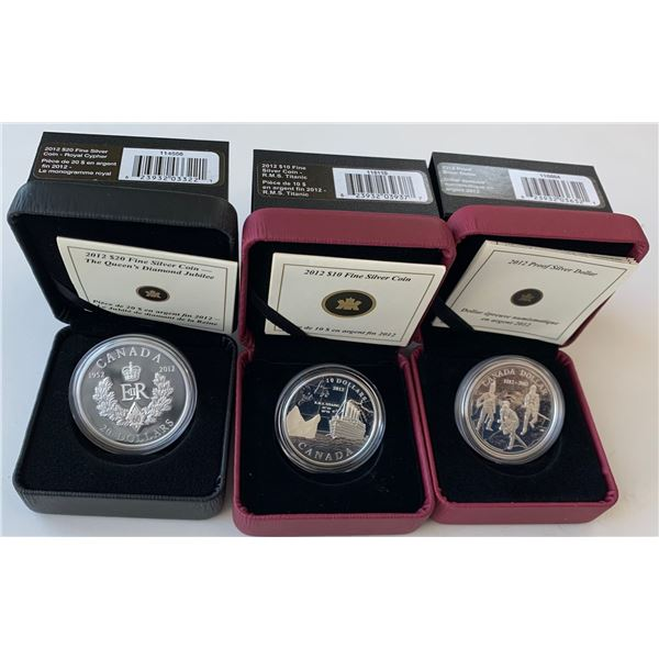 2012 Proof Dollar, $10 R.M.S. Titanic & $20 Royal Cypher Fine Silver Coins