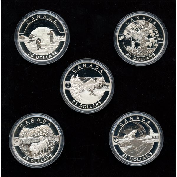 2014 O Canada $25 set of 5 Coins