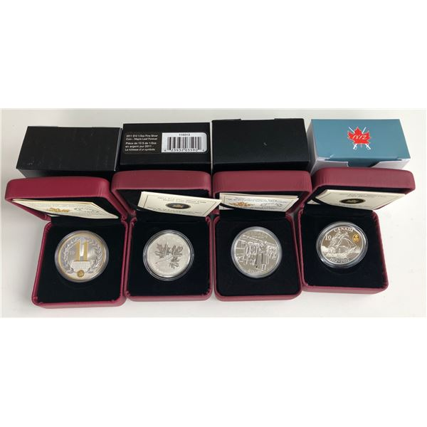 Royal Canadian Mint Fine Silver - Lot of 4 Coins