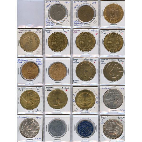 Saskatchewan, NWT, NFLD, Yukon Etc....Trade Dollars - Lot of 81