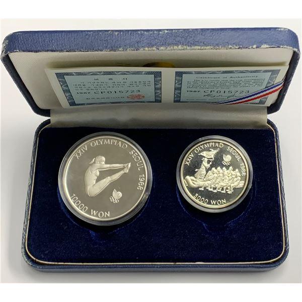 South Korea Olympic 10000 & 5000 Won 1.5 Ounces Silver