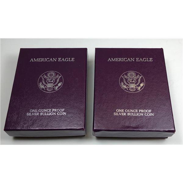 2 x 1986 American Silver Eagle - Proof - 1 Oz. Silver Bullion Velvet Box & COA