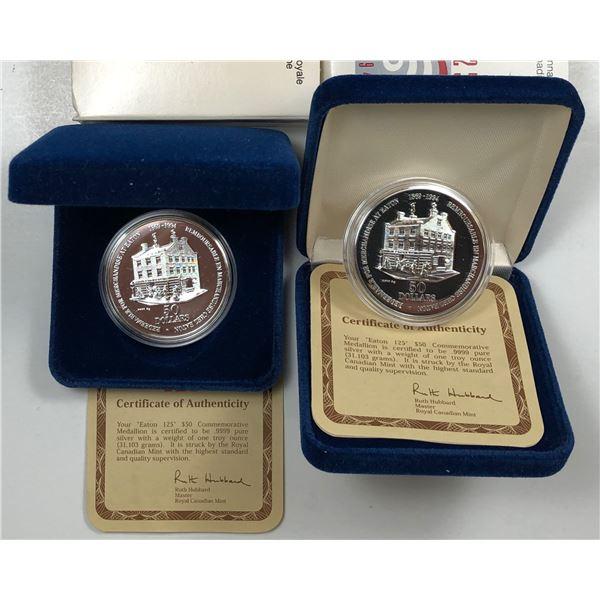 2 x 'Eaton 125' T. Eaton Co. $50 Silver