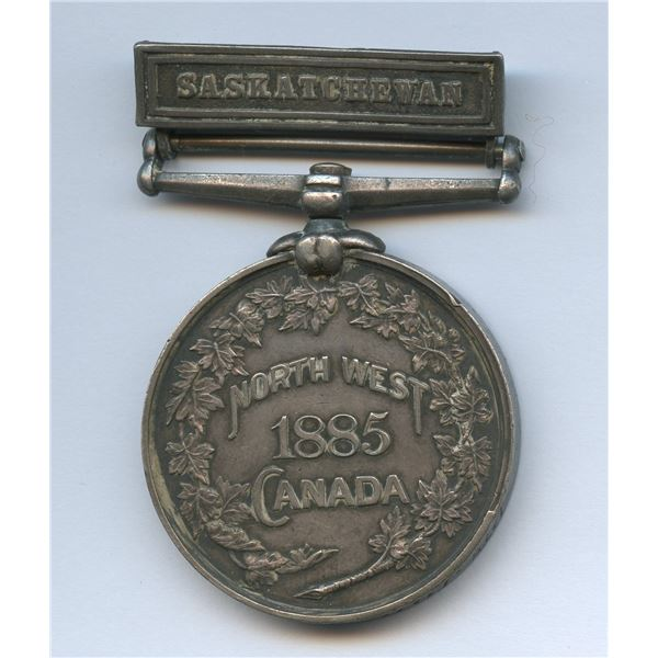 North West Canada 1885 Rebellion Medal with Saskatchewan clasp awarded to John Paul