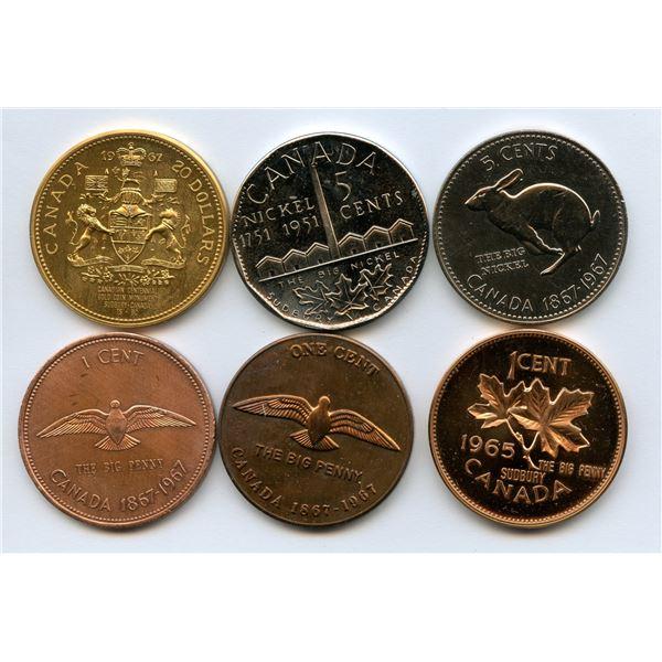 Sudbury Medals- 1967 gold monument,big penny, big nickel