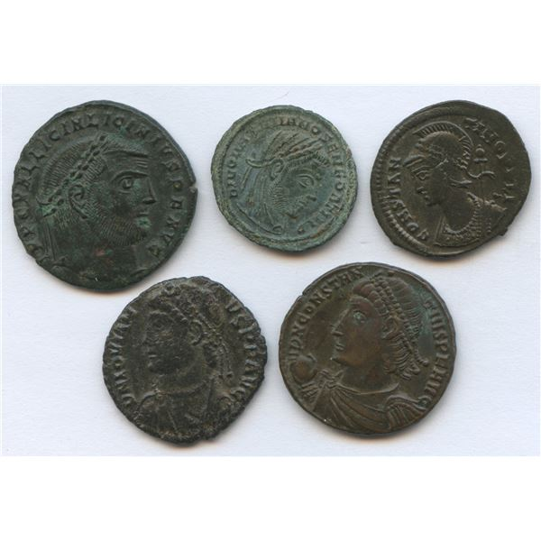 Roman Imperial - 4th Century Emperors Group. Lot of 5