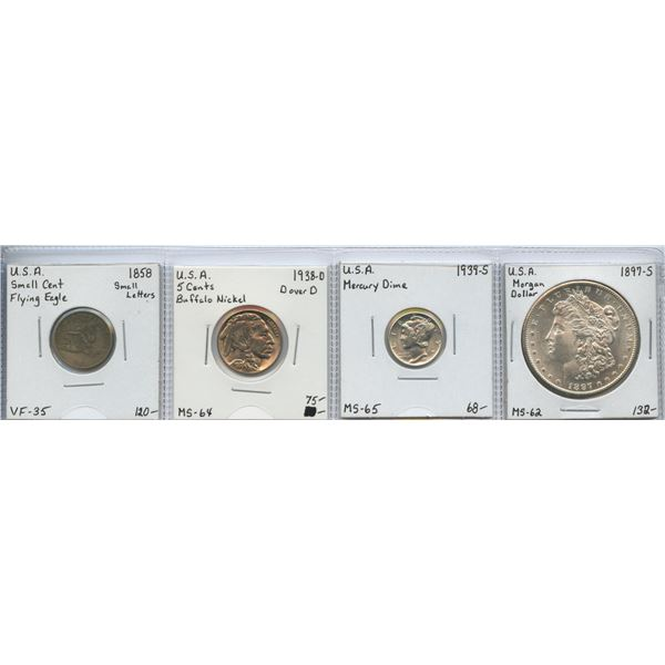 USA - Mixed Group of 'Better' Coins. Lot of 4
