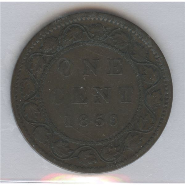 1859 One Cent - Narrow 9, Repunched 5.