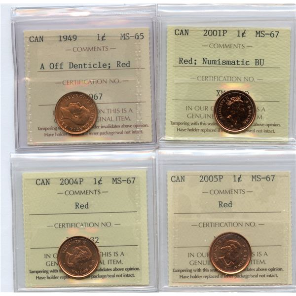 Canada One Cents - Lot of 4 ICCS Graded Coins