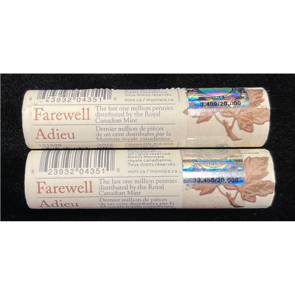 2012 Canada 1 Cent Coin Farewell to the Penny Special Wrapped Roll - Lot of 2