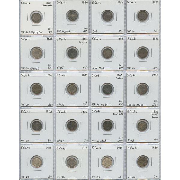 "5 Cents Silver ""Dealer"" Lot, 1858 - 1920. Lot of 20"