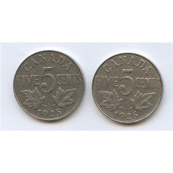 1925 & 1926 Five Cents - Far 6 - Lot of 2 Key Dates