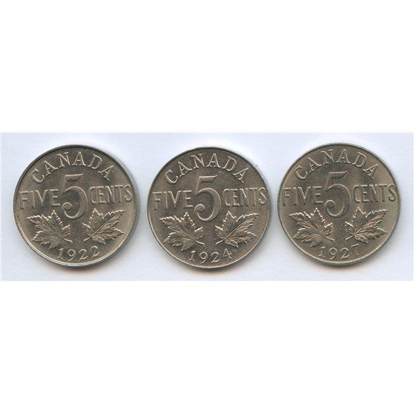 1922, 1924 & 1927 Five Cents Trio
