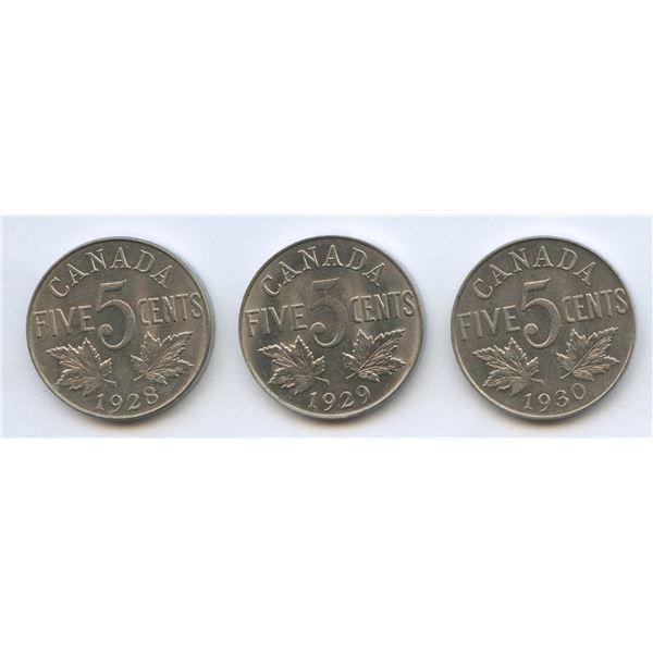 1928, 1929 & 1930 Five Cents Trio