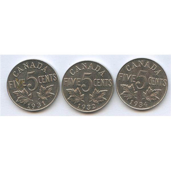 1931, 1932 & 1934 Five Cents Trio