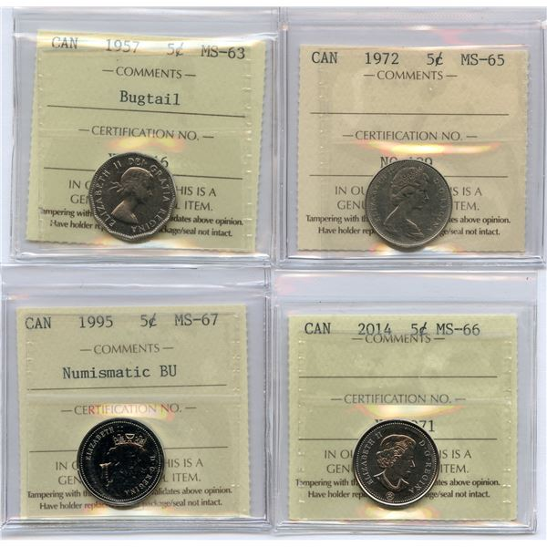 Canada Five Cents - Lot of 4 ICCS Graded Coins