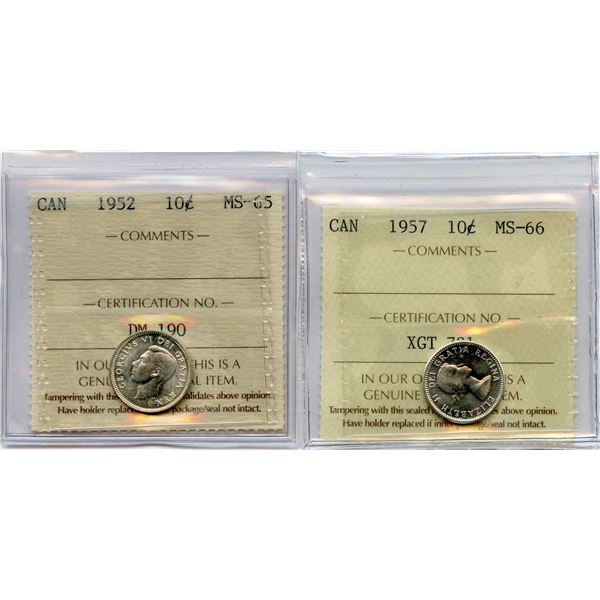 1952 & 1957 Ten Cents - Lot of 2 ICCS Graded Coins