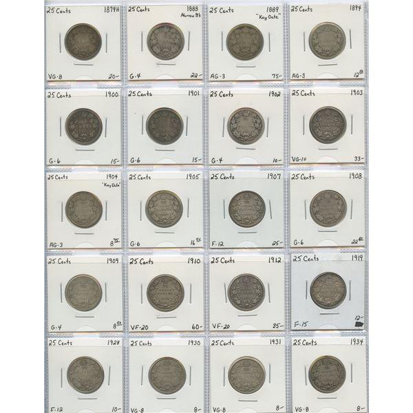 "25 Cents ""Dealer"" Lot, 1874H - 1934. Lot of 20"
