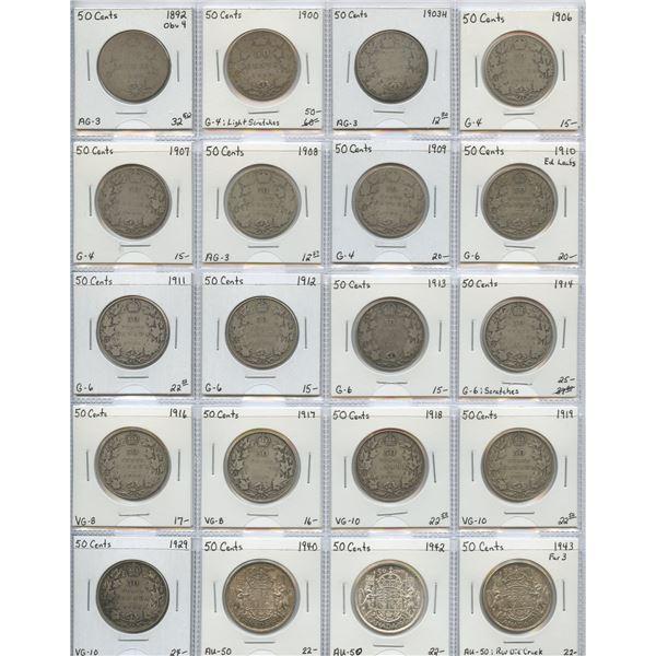 "50 Cents ""Dealer"" Lot, 1892 - 1943. Lot of 20"