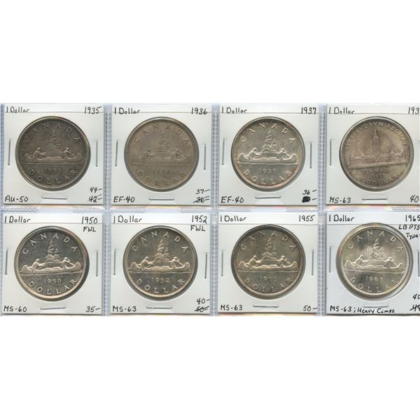 """Silver Dollar """"Dealer"""" Lot, 1935 - 1965. Lot of 8"""