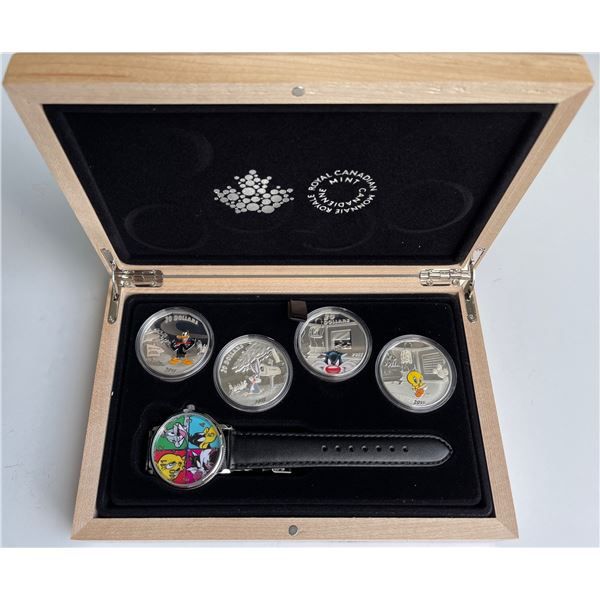 2015 $20 Looney Tunes - Pure Silver 4-Coin Set With Watch