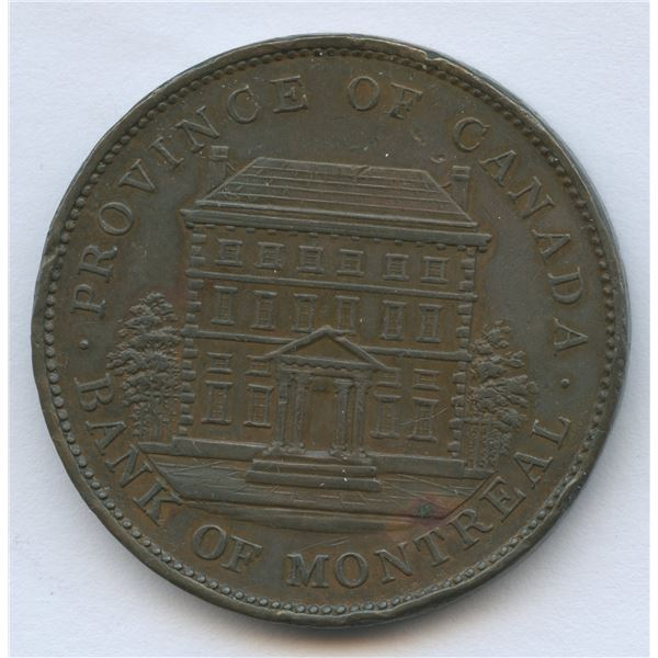 CH-PC-2A1. Courteau 88.1837 Province Du Bas Canada City Bank andBank of Montreal Mule Penny. Die