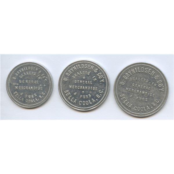 Lot of 3 BELLA COOLA, BC – B. BRYNILDSEN & CO'Y tokens.