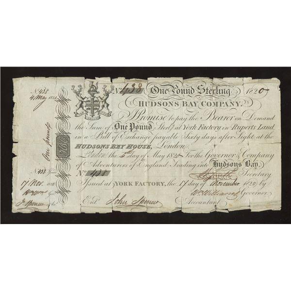 Hudson's Bay Company 1820 One Pound Sterling, 1820
