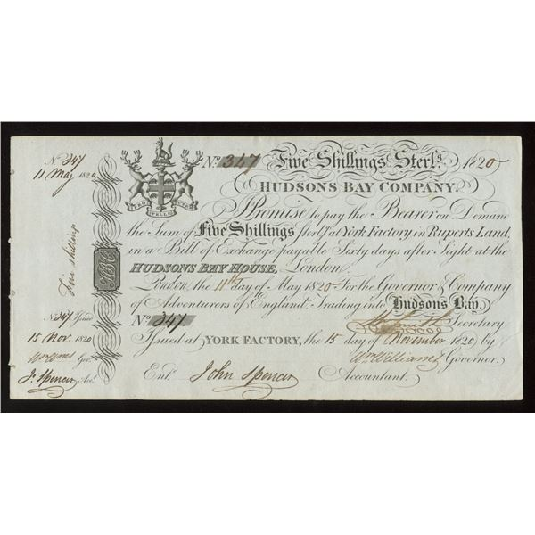 H. Don Allen Collection - Hudson's Bay Company Five Shillings Note.