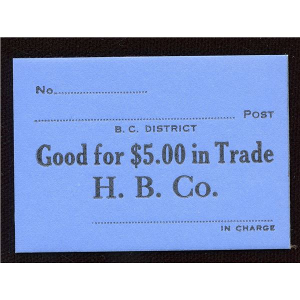 Hudson's Bay Company Generic Note for $5.00 in Trade
