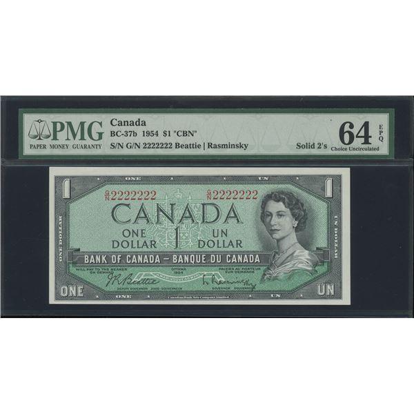 RADAR - SOLID - Bank of Canada $1, 1954 - Victoria's Collection