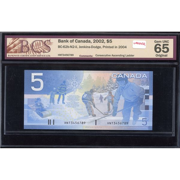 LADDER - Bank of Canada $5, 2002