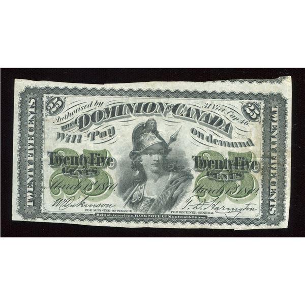 ERROR - Dominion of Canada 25 Cents, 1870