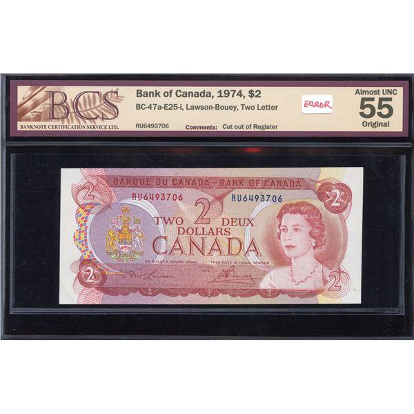 ERROR - Bank of Canada $2, 1974