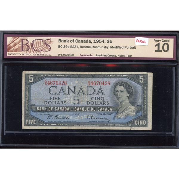 ERROR - Bank of Canada $5, 1954