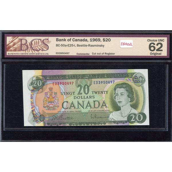 ERROR - Bank of Canada $20, 1969 Cut out of Register Error
