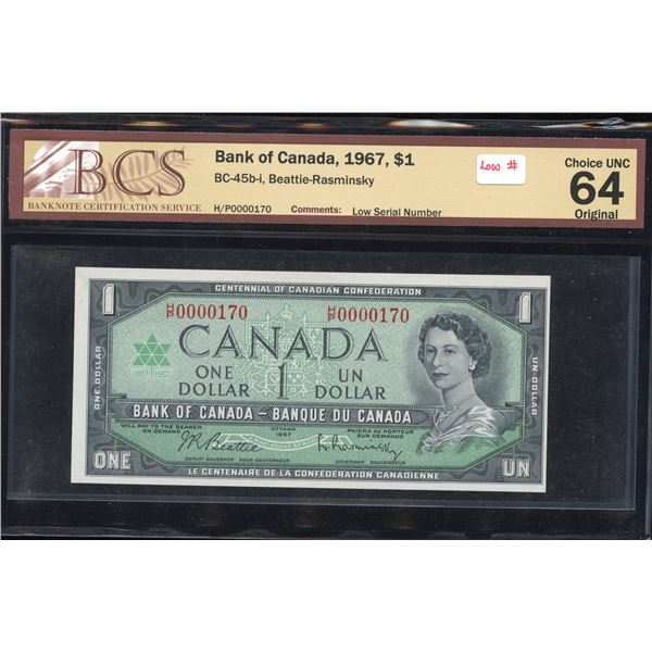 LOW NUMBER - Bank of Canada $1, 1967