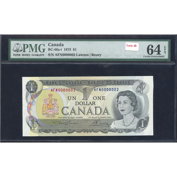 LOW NUMBER - Bank of Canada $1, 1973